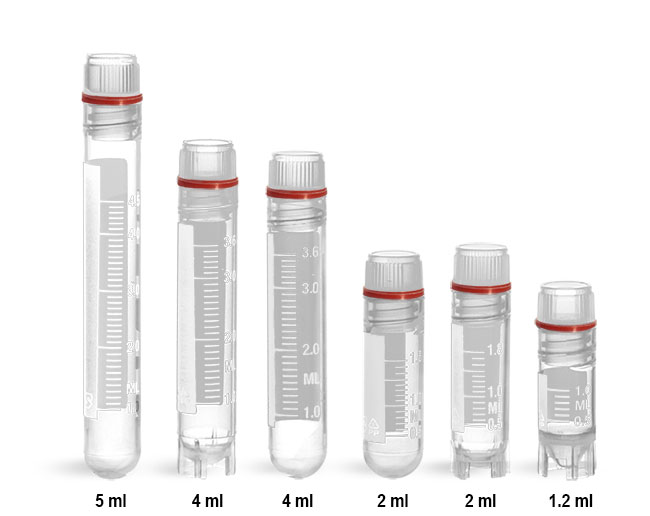 Plastic Lab Vials, Sterile Polypropylene Cryogenic Vials w/ Red Silicone O-Ring Seal and Caps