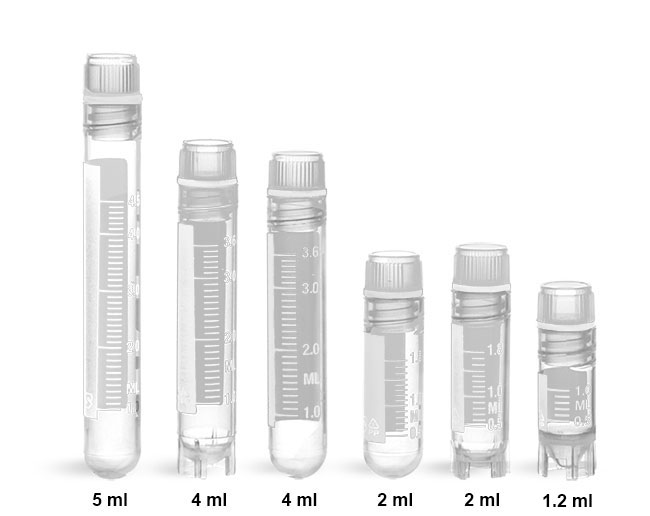 Plastic Vials, Cryovials Sterile Polypropylene Cryogenic Vials w/ Silicon Washer Seals & Internal Threads
