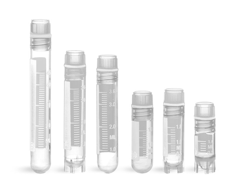 Plastic Lab Vials, Sterile Polypropylene Cryogenic Vials w/ Silicone Washer Seals & Internal Threads