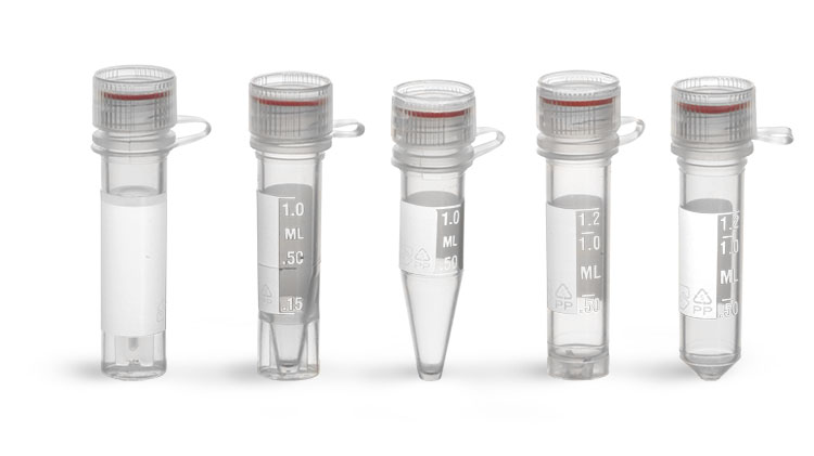 Centrifuge Tubes, Microcentrifuge Tubes w/ Plastic Caps, Sterile