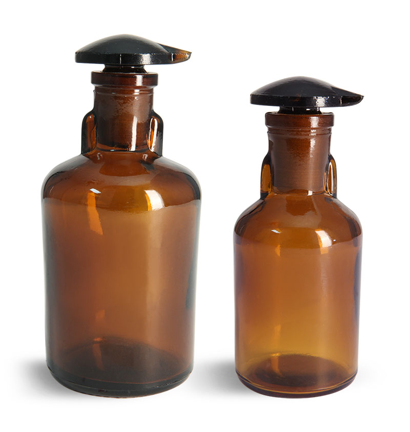 Lab Bottles, Dropping Bottles, Amber Glass Dropping Bottles w/ Ground Glass Stoppers