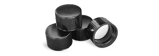 Plastic Caps, Teflon Faced Black Phenolic Rubber Lined Screw Caps