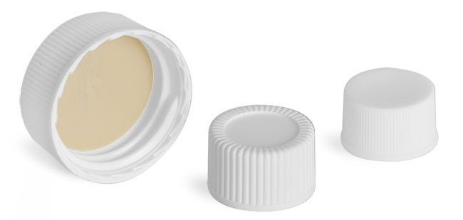 White Polypropylene Screw Caps w/ Bonded Teflon Faced Silicone Liners