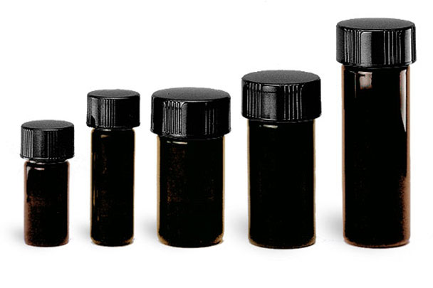 Glass Lab Vials, Amber Glass High Recovery Vials w/ Black Phenolic Teflon Faced Rubber Lined Caps