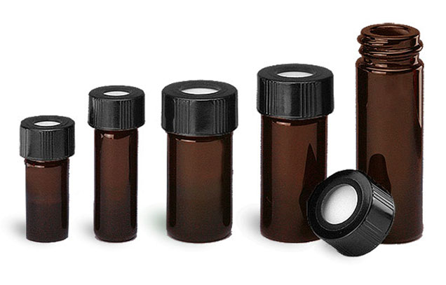 Glass Lab Vials, Amber Glass High Recovery Vials w/ Teflon Faced Open Top Black Phenolic Caps
